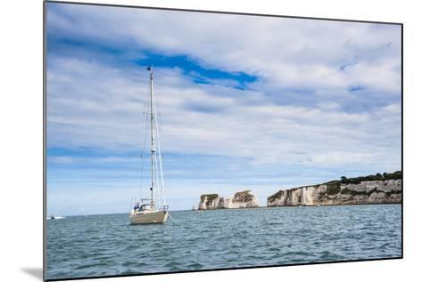 Sailing Boat at Old Harry Rocks, Between Swanage and Purbeck, Dorset, Jurassic Coast, England-Matthew Williams-Ellis-Mounted Photographic Print