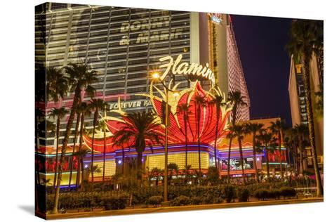 Neon Lights, Las Vegas Strip at Dusk with Flamingo Facade and Palm Trees, Las Vegas, Nevada, Usa-Eleanor Scriven-Stretched Canvas Print