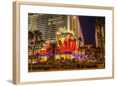 Neon Lights, Las Vegas Strip at Dusk with Flamingo Facade and Palm Trees, Las Vegas, Nevada, Usa-Eleanor Scriven-Framed Art Print