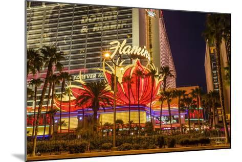Neon Lights, Las Vegas Strip at Dusk with Flamingo Facade and Palm Trees, Las Vegas, Nevada, Usa-Eleanor Scriven-Mounted Photographic Print