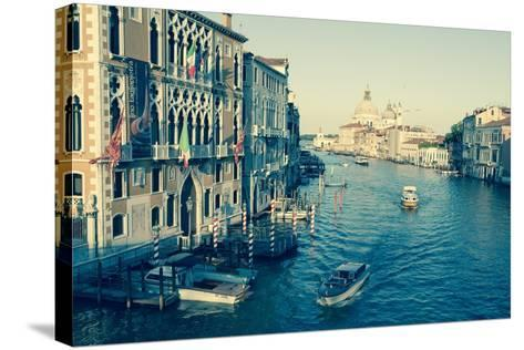 The Grand Canal and the Domed Santa Maria Della Salute, Venice, Veneto, Italy, Europe-Amanda Hall-Stretched Canvas Print