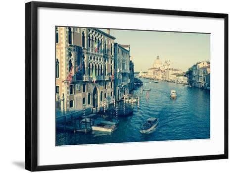 The Grand Canal and the Domed Santa Maria Della Salute, Venice, Veneto, Italy, Europe-Amanda Hall-Framed Art Print