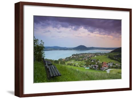 Elevated View over Picturesque Weyregg Am Attersee Illuminated at Dawn, Attersee, Salzkammergut-Doug Pearson-Framed Art Print