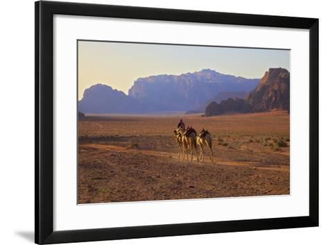 Bedouin with Camels, Wadi Rum, Jordan, Middle East-Neil Farrin-Framed Art Print