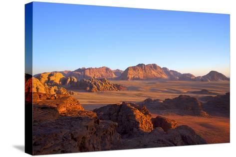 Tourist at Wadi Rum, Jordan, Middle East-Neil Farrin-Stretched Canvas Print