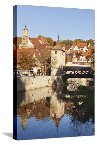 Kocher River and Old Town, Schwaebisch Hall, Hohenlohe, Baden Wurttemberg, Germany, Europe-Markus Lange-Stretched Canvas Print