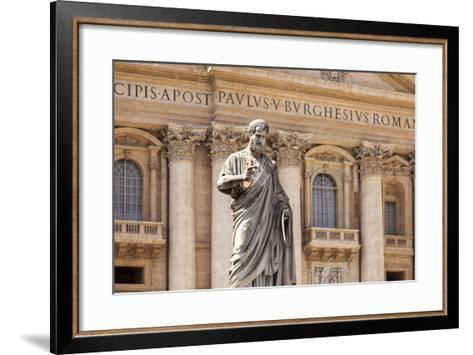 Statue of St. Peter, St. Peter's Piazza, Vatican, Rome, Lazio, Italy, Europe-Simon Montgomery-Framed Art Print