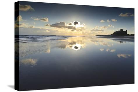 Bamburgh and Farne Island Winter Reflections, Bamburgh, Northumberland, England-Eleanor Scriven-Stretched Canvas Print