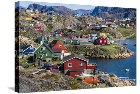 View of the Brightly Colored Houses in Sisimiut, Greenland, Polar Regions-Michael Nolan-Stretched Canvas Print