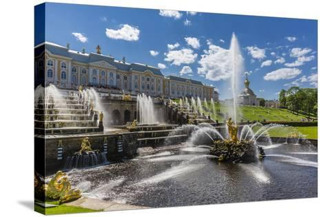 The Grand Cascade of Peterhof, Peter the Great's Palace, St. Petersburg, Russia, Europe-Michael Nolan-Stretched Canvas Print