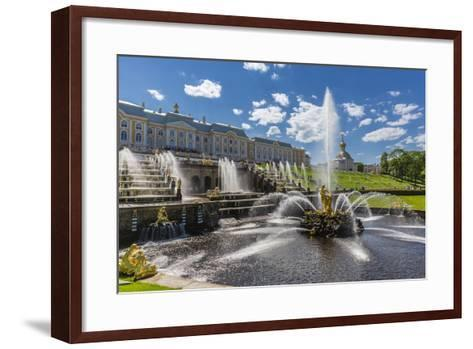 The Grand Cascade of Peterhof, Peter the Great's Palace, St. Petersburg, Russia, Europe-Michael Nolan-Framed Art Print