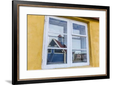 Church Reflected in Brightly Painted House Window in Sisimiut, Greenland, Polar Regions-Michael Nolan-Framed Art Print