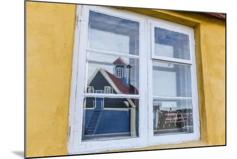 Church Reflected in Brightly Painted House Window in Sisimiut, Greenland, Polar Regions-Michael Nolan-Mounted Photographic Print