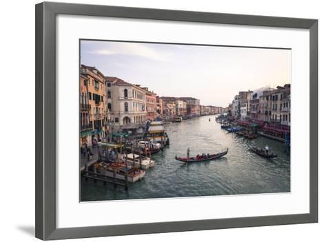 A Gondola Crossing the Grand Canal, Venice, UNESCO World Heritage Site, Veneto, Italy, Europe-Amanda Hall-Framed Art Print