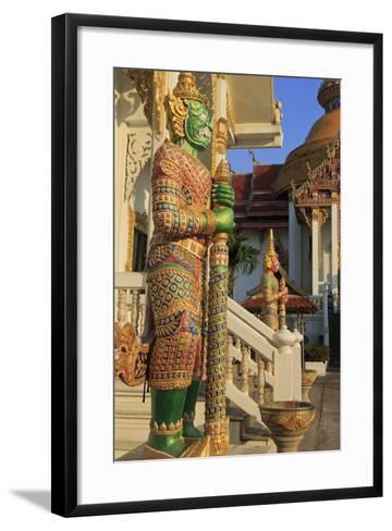Warrior in Wat Chamongkron Royal Monastery, Pattaya City, Thailand, Southeast Asia, Asia-Richard Cummins-Framed Art Print