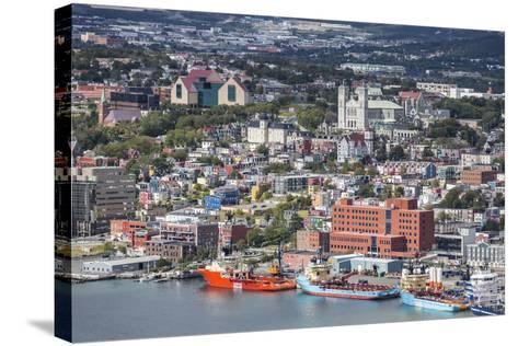 St. Johns Harbour and Downtown Area, St. John'S, Newfoundland, Canada, North America-Michael Nolan-Stretched Canvas Print