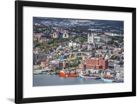 St. Johns Harbour and Downtown Area, St. John'S, Newfoundland, Canada, North America-Michael Nolan-Framed Art Print