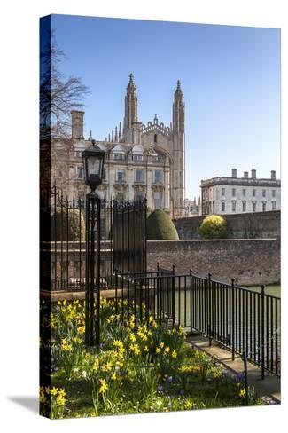 A View of Kings College from the Backs, Cambridge, Cambridgeshire, England, United Kingdom, Europe-Charlie Harding-Stretched Canvas Print