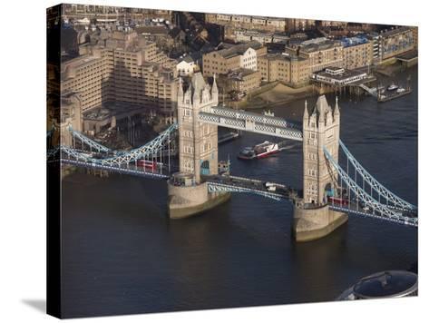 Aerial of Tower Bridge, London, England, United Kingdom, Europe-Charles Bowman-Stretched Canvas Print