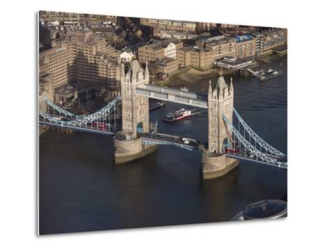 Aerial of Tower Bridge, London, England, United Kingdom, Europe-Charles Bowman-Metal Print