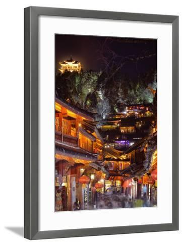 Busy Lijiang Old Town, at Night with Lion Hill and Wan Gu Tower, Lijiang, Yunnan, China, Asia-Andreas Brandl-Framed Art Print