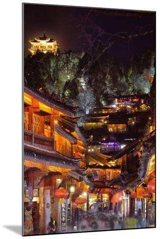 Busy Lijiang Old Town, at Night with Lion Hill and Wan Gu Tower, Lijiang, Yunnan, China, Asia-Andreas Brandl-Mounted Photographic Print