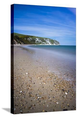 Swanage Beach and White Cliffs, Dorset, England, United Kingdom, Europe-Matthew Williams-Ellis-Stretched Canvas Print