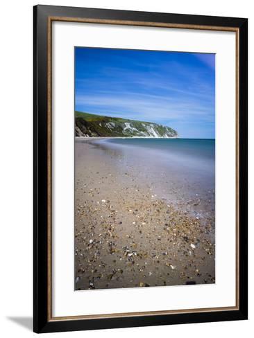 Swanage Beach and White Cliffs, Dorset, England, United Kingdom, Europe-Matthew Williams-Ellis-Framed Art Print
