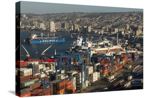 View of City and Ports from Paseo 21 De Mayo, Cerro Playa Ancha, Valparaiso-Ben Pipe-Stretched Canvas Print