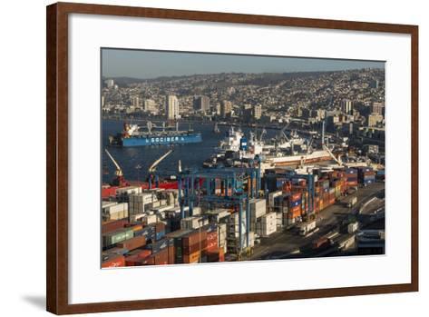View of City and Ports from Paseo 21 De Mayo, Cerro Playa Ancha, Valparaiso-Ben Pipe-Framed Art Print