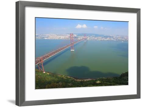 Ponte 25 De Abril (25th of April Bridge) over the Tagus River, Lisbon, Portugal, Europe-G&M Therin-Weise-Framed Art Print