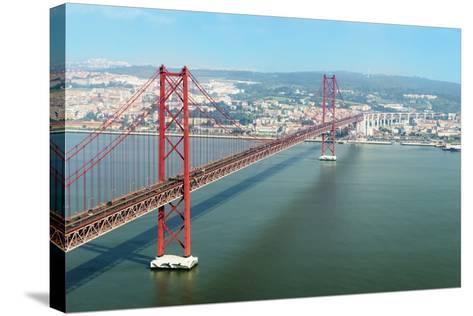 Ponte 25 De Abril (25th of April Bridge) over the Tagus River, Lisbon, Portugal, Europe-G&M Therin-Weise-Stretched Canvas Print