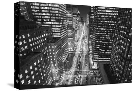 Park Avenue at Night - Aerial View Of Midtown Manhattan Iconic Nyc-Henri Silberman-Stretched Canvas Print
