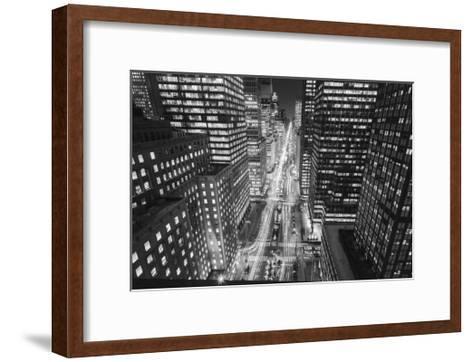 Park Avenue at Night - Aerial View Of Midtown Manhattan Iconic Nyc-Henri Silberman-Framed Art Print