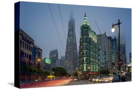 Transamerica Building, Zoetrope Café San Night - Iconic Landmark Buildings California-Henri Silberman-Stretched Canvas Print