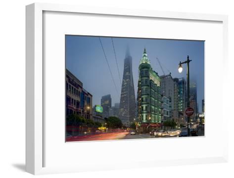 Transamerica Building, Zoetrope Café San Night - Iconic Landmark Buildings California-Henri Silberman-Framed Art Print