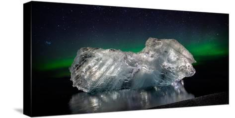 Ice with the Aurora Borealis. Ice Formations Come from the Jokulsarlon Glacial Lagoon--Stretched Canvas Print