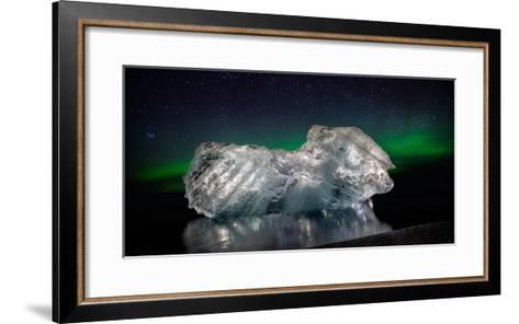 Ice with the Aurora Borealis. Ice Formations Come from the Jokulsarlon Glacial Lagoon--Framed Art Print