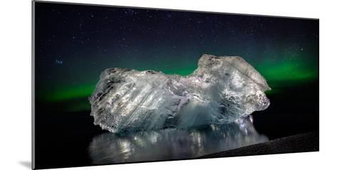 Ice with the Aurora Borealis. Ice Formations Come from the Jokulsarlon Glacial Lagoon--Mounted Photographic Print