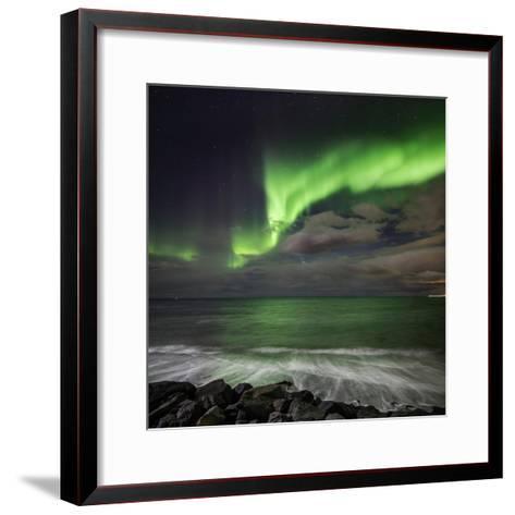 Aurora Borealis or Northern Lights, Lapland, Sweden Aurora Borealis or Northern Lights--Framed Art Print