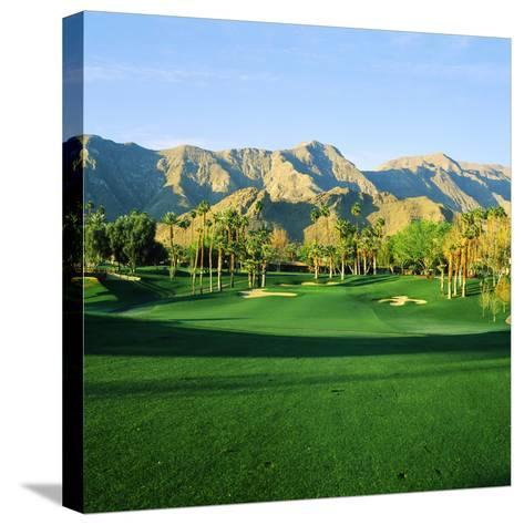 Trees in a Golf Course with a Mountain Range in the Background, Thunderbird Country Club--Stretched Canvas Print
