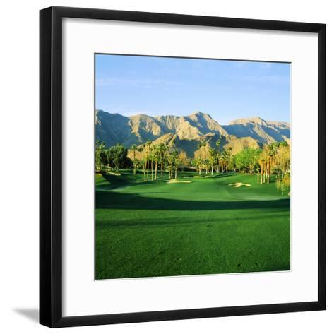Trees in a Golf Course with a Mountain Range in the Background, Thunderbird Country Club--Framed Art Print