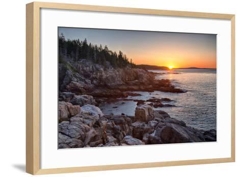 Rocks on the Coast at Sunrise, Little Hunters Beach, Acadia National Park, Maine, USA--Framed Art Print