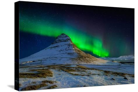 Aurora Borealis or Northern Lights over Mt Kirkjufell, Snaefellsnes Peninsula, Iceland--Stretched Canvas Print