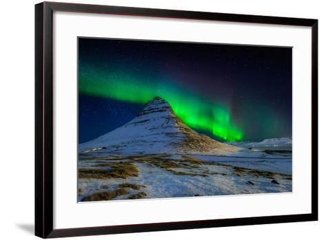 Aurora Borealis or Northern Lights over Mt Kirkjufell, Snaefellsnes Peninsula, Iceland--Framed Art Print