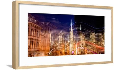 Abstract View of San Francisco's Financial District from Telegraph Hill at Dusk, San Francisco--Framed Art Print