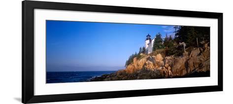 Lighthouse at the Coast, Bass Head Lighthouse, Acadia National Park, Mount Desert Island, Maine--Framed Art Print