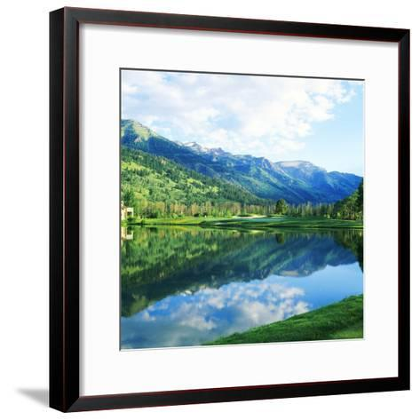 Reflection of Clouds on Water, Teton Pines Golf Course, Jackson, Wyoming, USA--Framed Art Print
