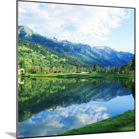 Reflection of Clouds on Water, Teton Pines Golf Course, Jackson, Wyoming, USA--Mounted Photographic Print