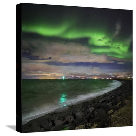 Aurora Borealis or Northern Lights, Reykjavik, Iceland--Stretched Canvas Print